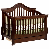 Million Dollar Baby Classic Ashbury 4-in-1 Sleigh Convertible Crib with Toddler Rail in Espresso