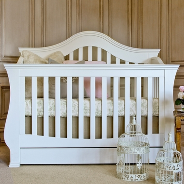 Million Dollar Baby Classic Ashbury 4-in-1 Sleigh Convertible Crib with Toddler Rail in White - Click to enlarge