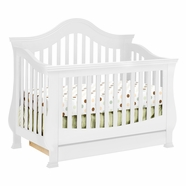 Million Dollar Baby Classic Ashbury 4-in-1 Sleigh Convertible Crib with Toddler Rail in White