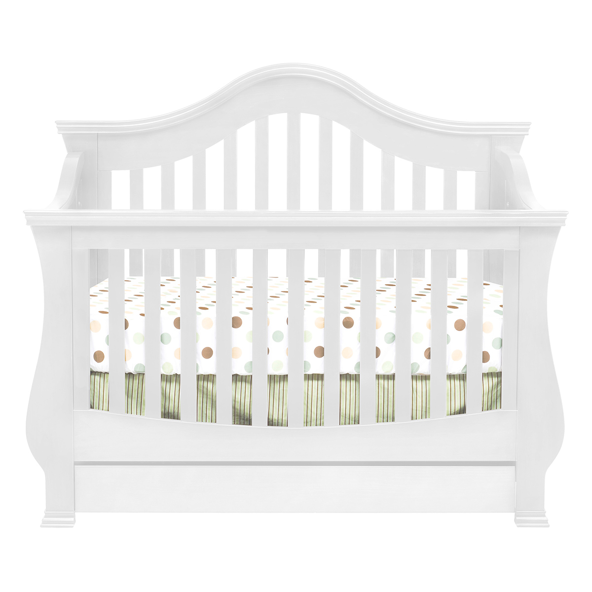 million dollar baby ashbury 4in1 sleigh convertible crib with toddler rail in white free shipping - Convertible Baby Cribs