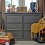 Million Dollar Baby Classic Foothill and Louis 6 Drawer Changer Dresser with Tray in Manor Grey