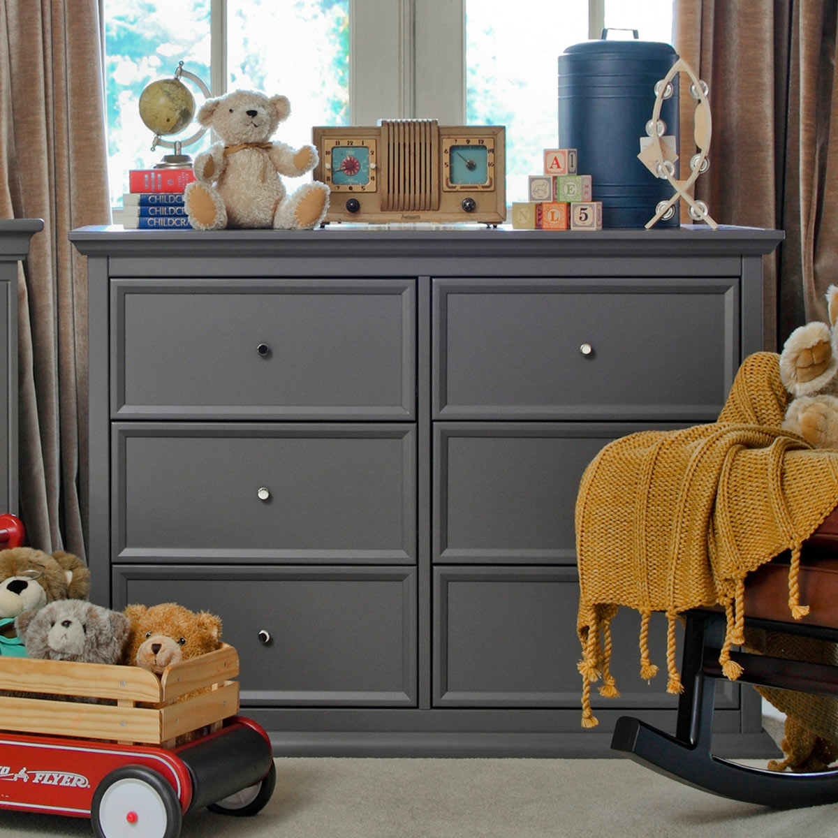 Million Dollar Baby Classic Foothill|Louis 6 Drawer Changer Dresser With  Tray In Manor Grey FREE SHIPPING
