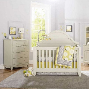 Million Dollar Baby Sullivan 2 Piece Nursery Set Convertible Crib And 4 Drawer Tall Dresser In Dove White