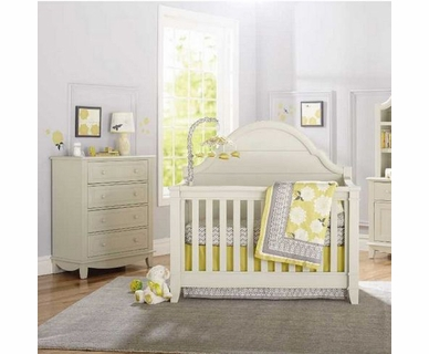 Million Dollar Baby Sullivan 2 Piece Nursery Set - Convertible Crib and 4 Drawer Tall Dresser in Dove White