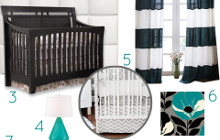 Modern Black and White Nursery with Turquoise Accents