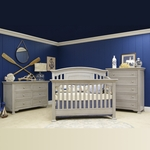 Munire 3 Piece Nursery Set - Medford Lifetime Crib, 6 Drawer Double Dresser and 5 Drawer Chest in Gray