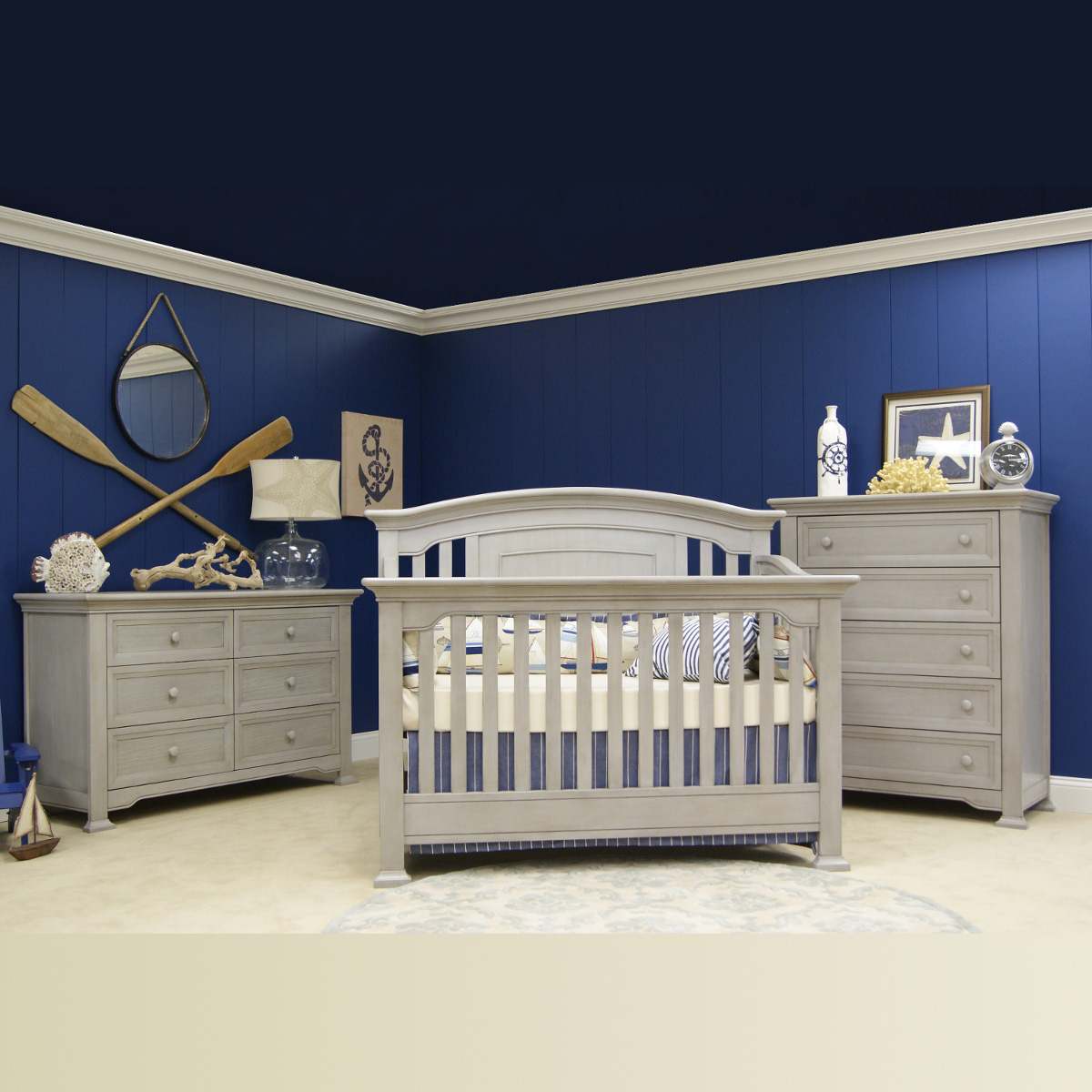 Munire 3 Piece Nursery Set Medford Lifetime Crib 6 Drawer Double Dresser And 5 Chest In Gray Free Shipping