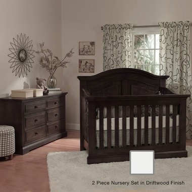 Munire Chatham 2 Piece Nursery Set - Curve Top Crib Convertible Crib and 6 Drawer Dresser in Driftwood - Click to enlarge