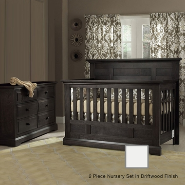 Munire Chatham 2 Piece Nursery Set - Flat Top Crib Convertible Crib and 6 Drawer Dresser in Driftwood - Click to enlarge