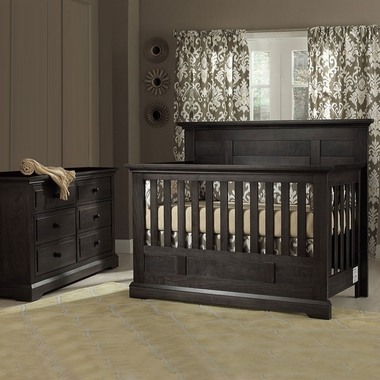 Munire Chatham 2 Piece Nursery Set - Flat Top Crib Convertible Crib and 6 Drawer Dresser in Slate - Click to enlarge