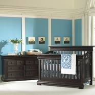 Munire Majestic 2 Piece Nursery Set - Flat Top Lifetime Crib and Double Dresser in Espresso