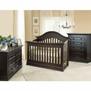Munire Nursery Set - Capri Arch Top Lifetime Crib, Double Dresser and 5 Drawer Chest in Dark Espresso