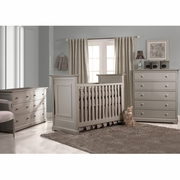 Munire Nursery Set - Chesapeake Classic Crib, Double Dresser and 5 Drawer Chest in Light Grey