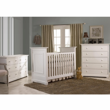 Munire Nursery Set - Chesapeake Classic Crib, Double Dresser and 5 Drawer Chest in White - Click to enlarge