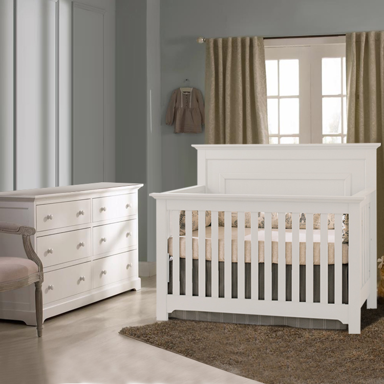 Munire 2 Piece Nursery Set Chesapeake Lifetime Crib And Double Dresser In White Free Shipping