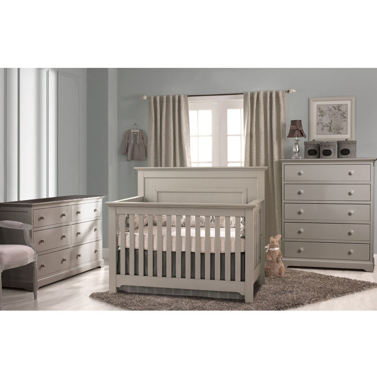 Munire 3 Piece Nursery Set Chesapeake Lifetime Crib Double Dresser And 5 Drawer Chest In Light Grey Free Shipping