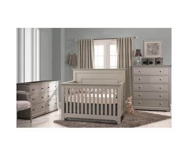 Munire Nursery Set - Chesapeake Lifetime Crib, Double Dresser and 5 Drawer Chest in Light Grey