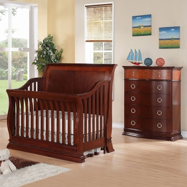 Munire Portland 2 Piece Nursery Set - Convertible Crib and 5 Drawer Chest in Cherry - Click to enlarge