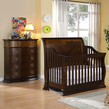 Munire Portland 2 Piece Nursery Set - Convertible Crib and 5 Drawer Chest in Cinnamon - Click to enlarge