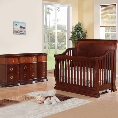 Munire Portland 2 Piece Nursery Set - Convertible Crib and 6 Drawer Dresser in Cherry - Click to enlarge