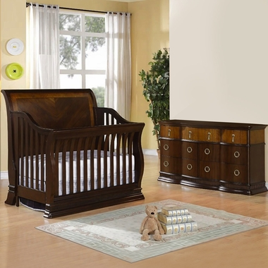 Munire Portland 2 Piece Nursery Set - Convertible Crib and 6 Drawer Dresser in Cinnamon - Click to enlarge