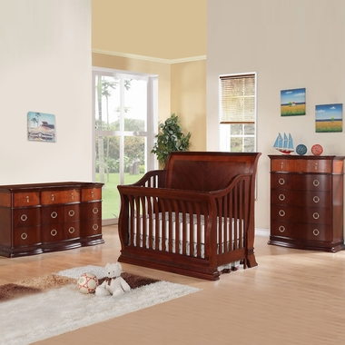 Munire Portland 3 Piece Nursery Set - Convertible Crib, 5 Drawer Chest and 6 Drawer Dresser in Cherry - Click to enlarge