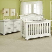 Munire Valencia 2 Piece Nursery Set - Convertible Crib and 6 Drawer Dresser in White