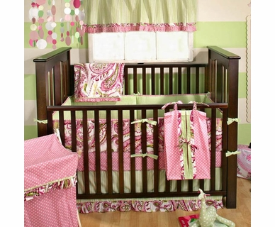 My Baby Sam Paisley Splash Pink 4 Piece Baby Crib Bedding Set