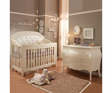 Natart 2 Piece Nursery Set - Allegra Convertible Crib and Three Drawer Dresser in French White