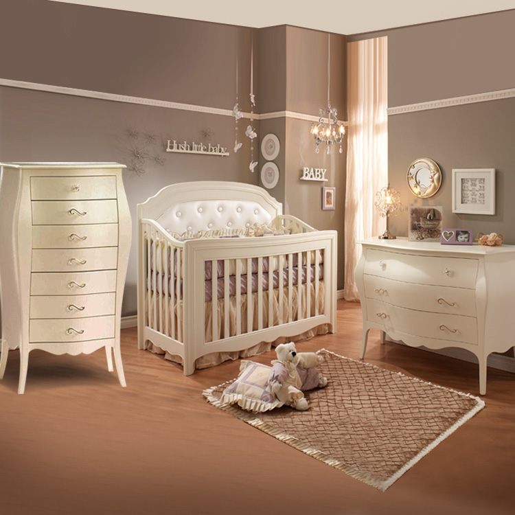 Natart 3 Piece Nursery Set Allegra Convertible Crib Three Drawer Dresser And Chest In French White Free Shipping