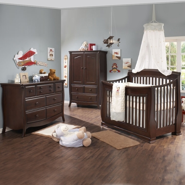 Natart 3 Piece Nursery Set   Bella Convertible Crib, Double Dresser And  Armoire In Cocoa