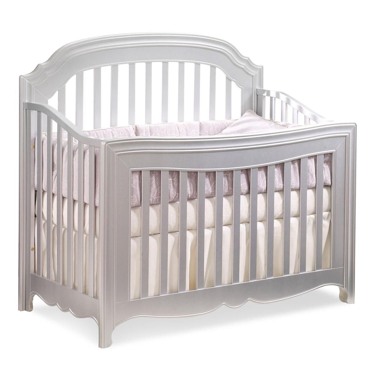 Natart Alexa 2 Piece Nursery Set - 4-in-1 Convertible Crib and Vanity in  Silver FREE SHIPPING