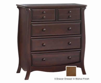 Natart Bella 5 Drawer Dresser in Walnut
