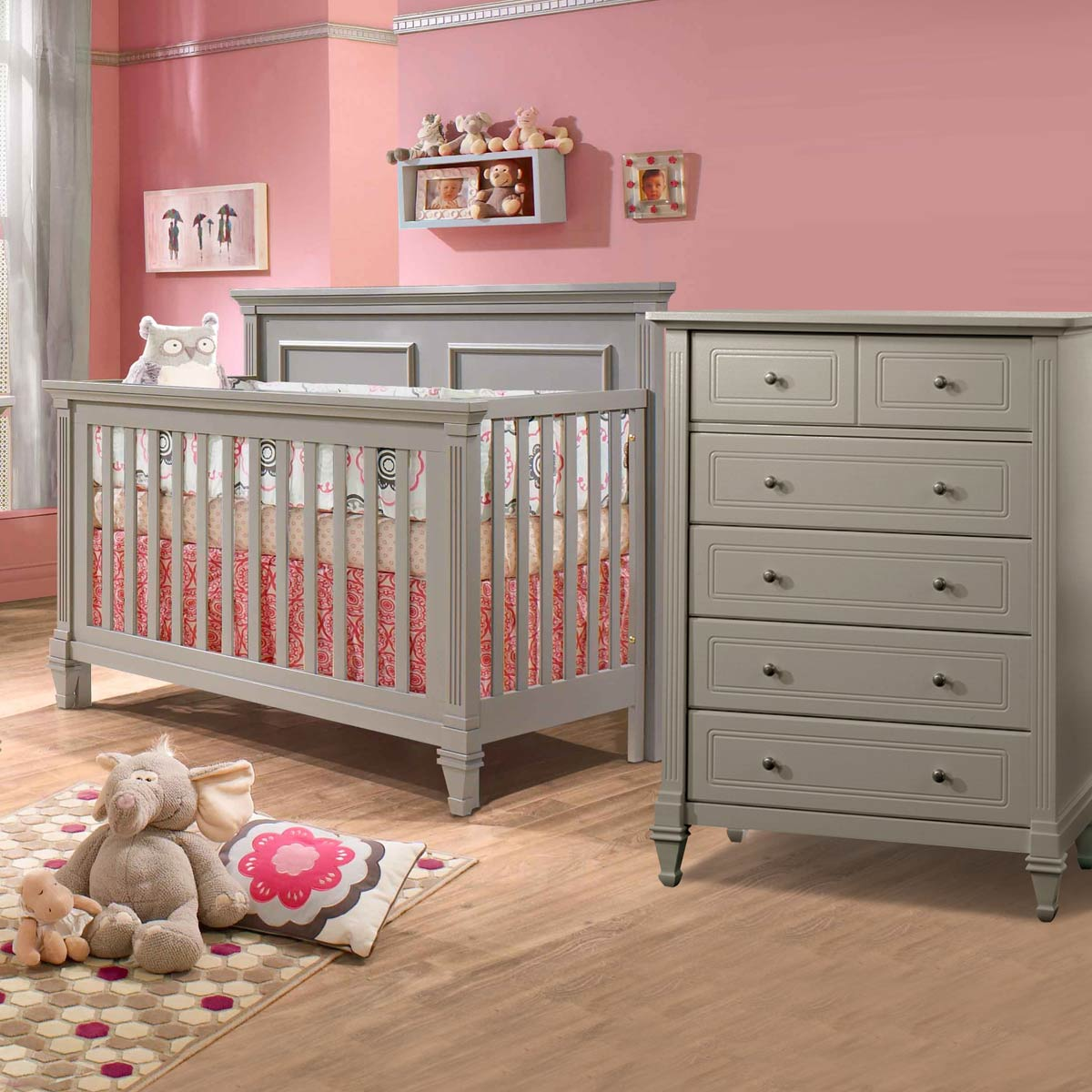 Natart crib for sale - Natart Belmont 2 Piece Nursery Set 4 In 1 Convertible Crib And 5 Drawer Dresser In Stone Gray Free Shipping