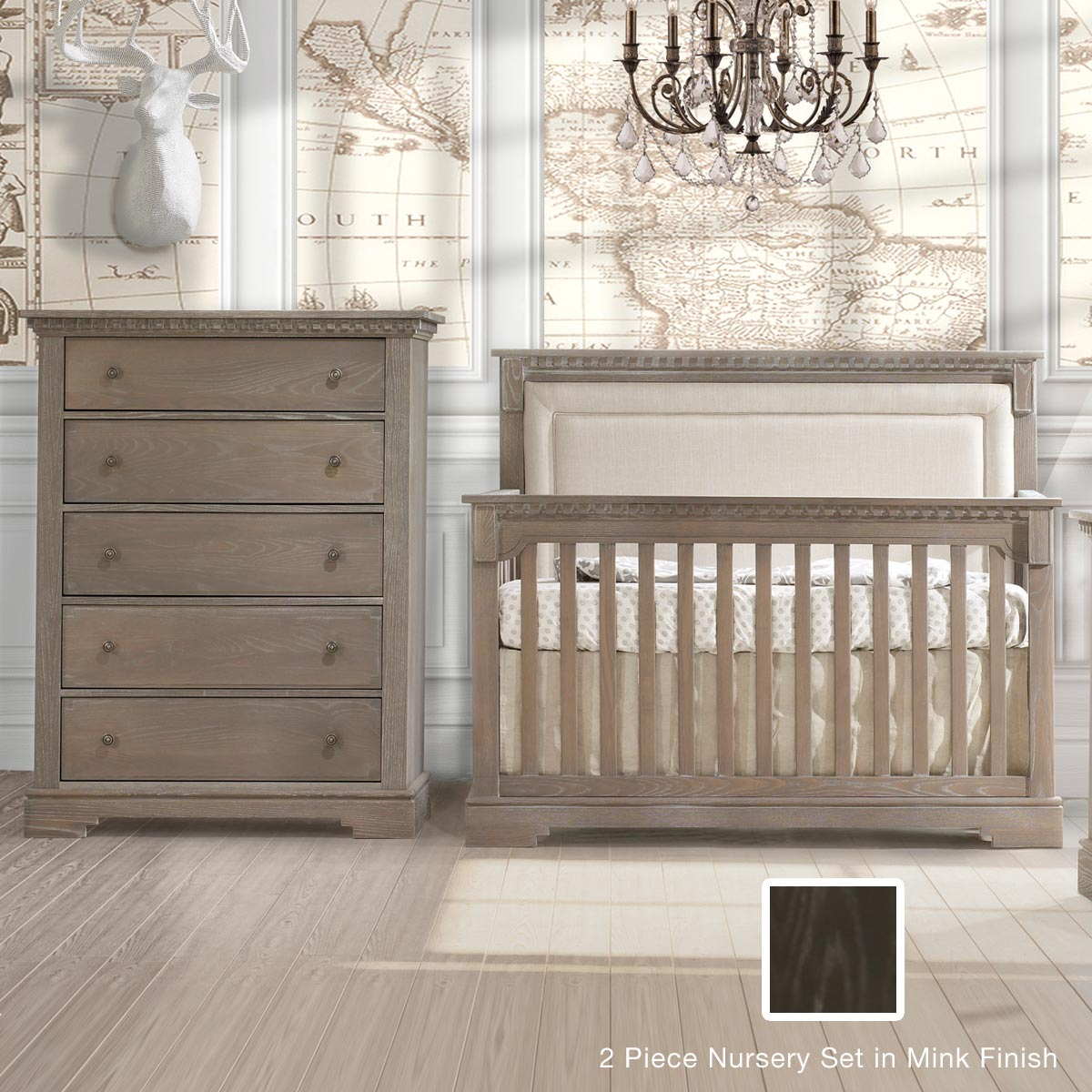 Natart crib for sale - Natart Ithaca 2 Piece Nursery Set 4 In 1 Convertible Crib And 5 Drawer Dresser In Mink Free Shipping
