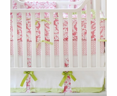 New Arrivals Pink Bloom 4 Piece Crib Bedding Set