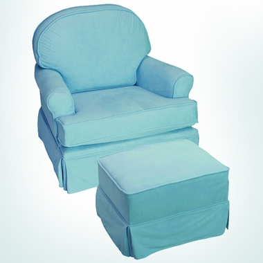 Delicieux Komfy Kings Round Back Glider In Blue Microfiber   Click To Enlarge