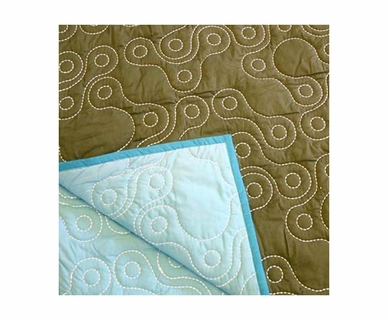 NotNeutral Links Throw Quilt in Ozone Blue, Sable, Blue and White