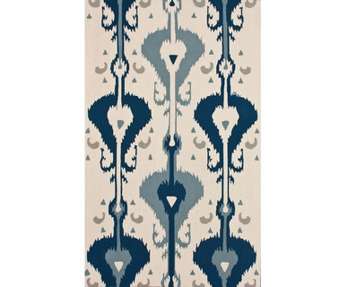 nuLOOM Kinderloom Hand Hooked Funky Ikat Area Rug in Blue