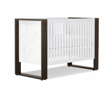 Nursery Works Aerial Crib in Snow with Dark Frame and Circle Ends