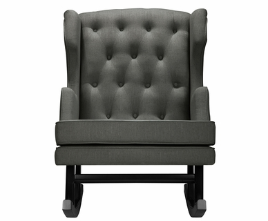 Nursery Works Empire Rocker - Weave Fabric in Charcoal with Dark Legs