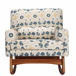 Nursery Works Sleepytime Rocker - Bazaar Cotton in Spring with Walnut Legs