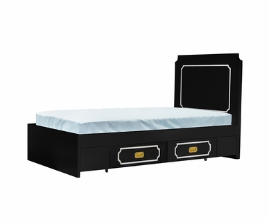 Nursery Works Uptown Twin Bed in Black with Cream Molding