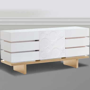 Nurseryworks 3-Wide Dresser in Snow with Light Platform & Circle Doors - Click to enlarge
