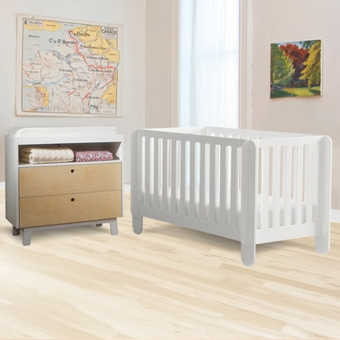 oeuf 2 piece nursery set elephant convertible crib and sparrow dresser in white click - Oeuf Sparrow Crib