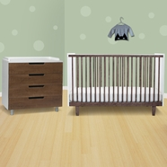 Oeuf 2 Piece Nursery Set - Rhea Crib and 4 Drawer Dresser in Walnut/White