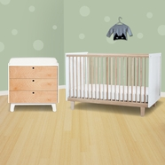 Oeuf 2 Piece Nursery Set - Rhea Crib and Sparrow Collection Dresser in Birch/White