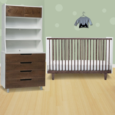 oeuf 3 piece nursery set rhea crib 4 drawer dresser and hutch in walnut - Oeuf Sparrow Crib