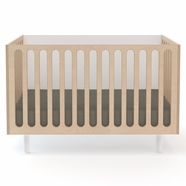 Oeuf Fawn Crib to Bassinet in White and Birch