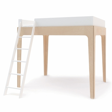 Oeuf Perch Full Loft Bed In White / Birch   Click To Enlarge